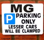 Parking Sign MG Gift  -Any model manual midget project